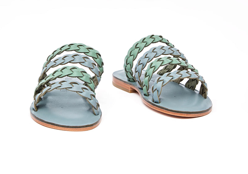 Front view of the handmade Sea women's braided slip-on leather sandals in light grey insole with light green and grey straps / GREY GREEN