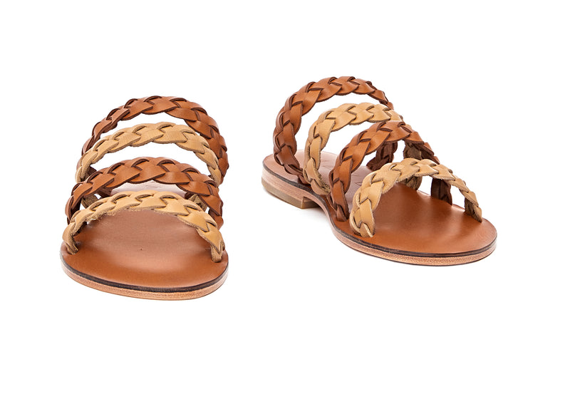 Front view of the handmade Sea women's braided slip-on leather sandals in light brown insole with natural tan and light brown straps / TAN BROWN