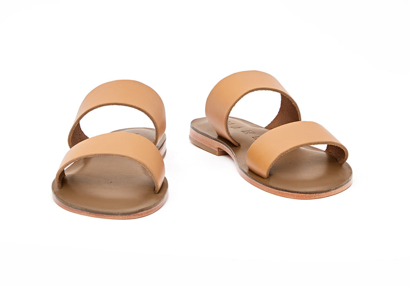 Front view of the handmade Sun women's slip-on leather sandals in olive insole with natural tan straps / TAN