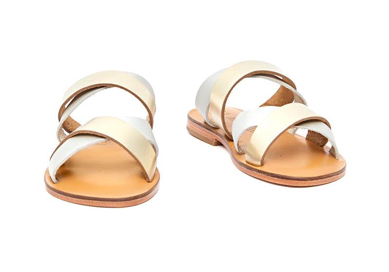 Front view of the handmade Wave women's slip-on leather sandals in natural tan insole with gold and silver straps / GOLD SILVER