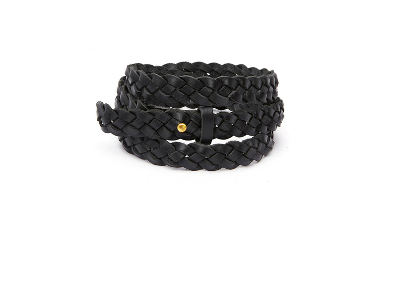 The hand braided Ivy women's leather belt in black / BLACK