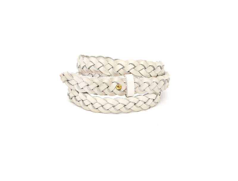 The hand braided Ivy women's leather belt in cream / CREAM