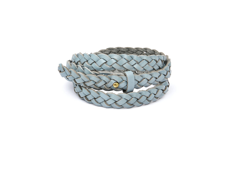 The hand braided Ivy women's leather belt in light grey / GREY