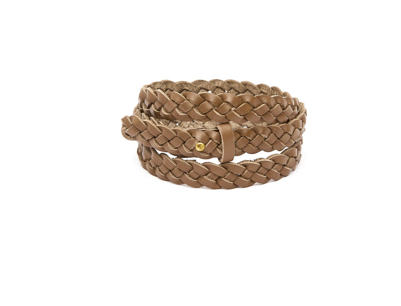 The hand braided Ivy women's leather belt in olive / OLIVE