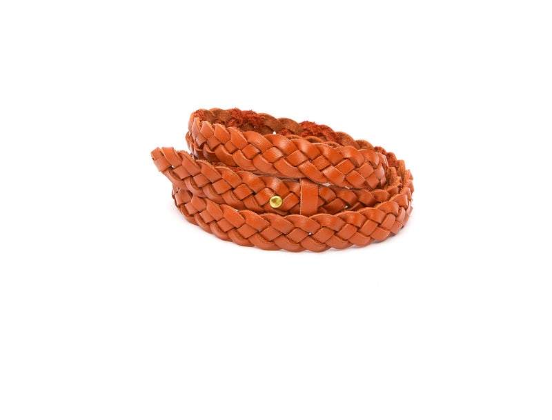 The hand braided Ivy women's leather belt in orange / ORANGE
