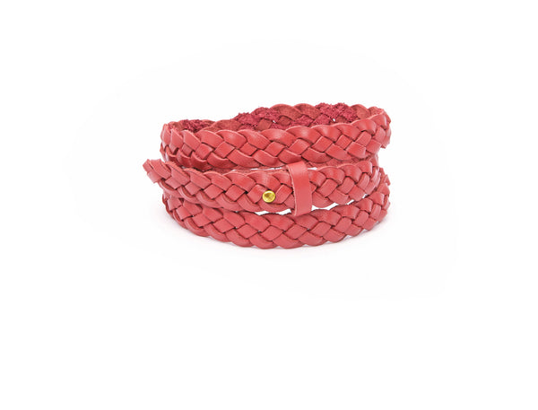 The hand braided Ivy women's leather belt in pomegranate / POMEGRANATE