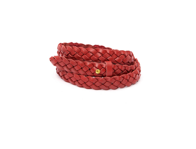The hand braided Ivy women's leather belt in red / RED