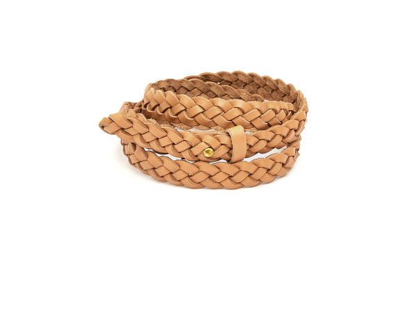 The hand braided Ivy women's leather belt in natural tan / TAN