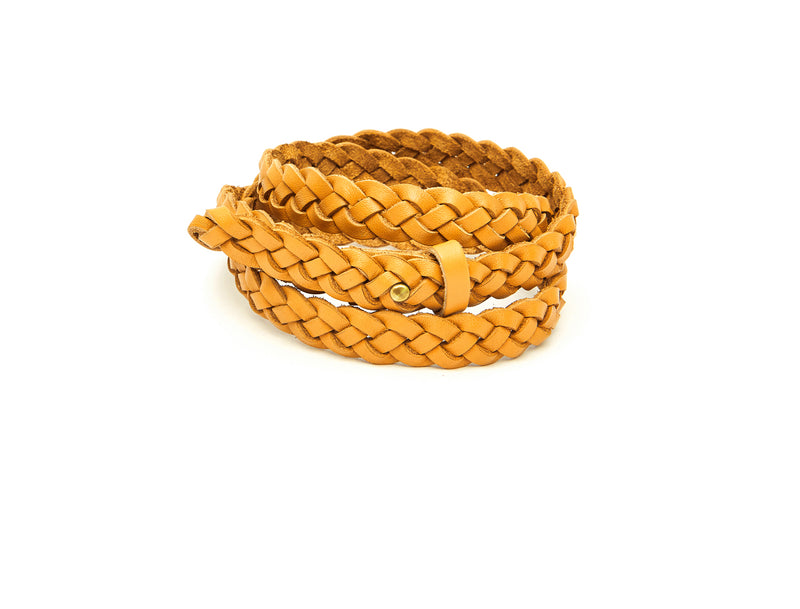 The hand braided Ivy women's leather belt in yellow / YELLOW