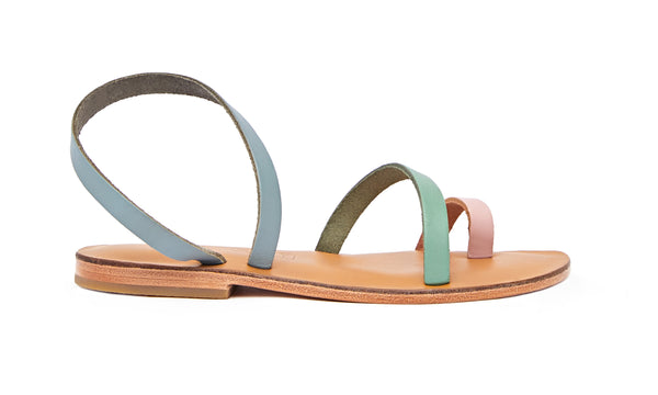 Side view of the handmade Moon women's slingback leather sandals in natural tan insole with light pink green and grey straps / PASTEL