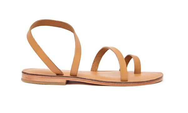 Side view of the handmade Moon women's slingback leather sandals in natural tan / TAN