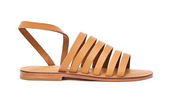 Side view of the handmade Ray women's slingback leather sandals in natural tan / TAN