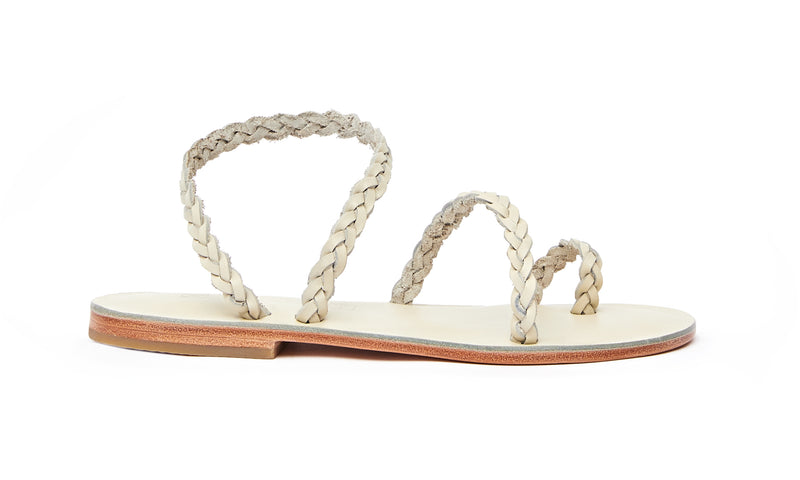 Side view of the handmade Salt women's braided slingback leather sandals in cream / CREAM