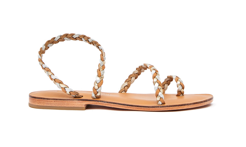 Side view of the handmade Salt women's braided slingback leather sandals in natural tan insole with gold, silver and natural tan straps / GOLD SILVER