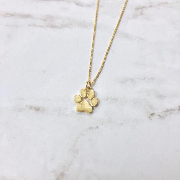 Paw Print Necklace Gold