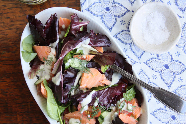 Hot smoked ChalkStream® trout salad