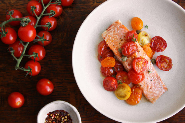 Baked ChalkStream® trout with heritage tomatoes