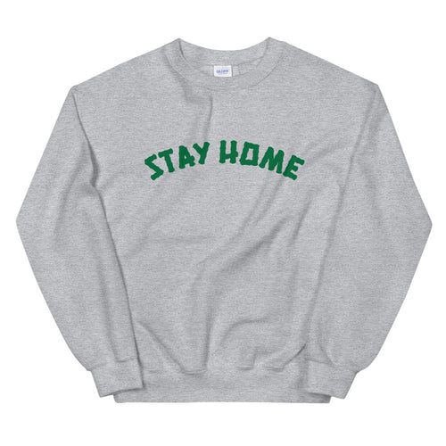 Stay Home Crewneck Sweater - Grey/Green
