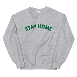Stay Home (Coronavirus) Crewneck Sweater - Grey/Green