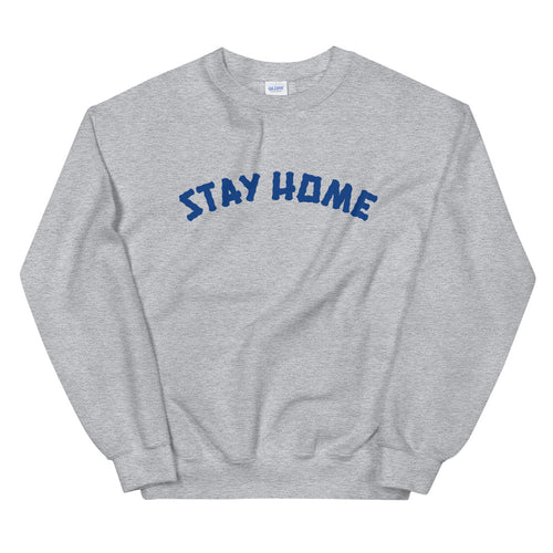 Stay Home (Coronavirus) Crewneck Sweater - Grey/Blue