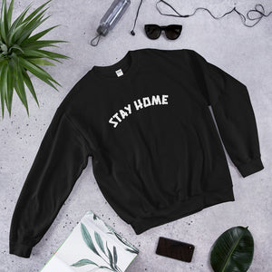 Stay Home Crewneck Sweater - Black/White