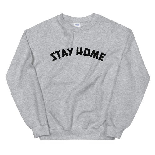Stay Home Crewneck Sweater - Grey/Black