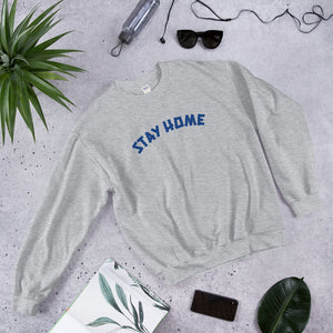 Stay Home Crewneck Sweater - Grey/Blue