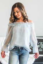 Load image into Gallery viewer, Pale blue off the shoulder top DT8461A-04