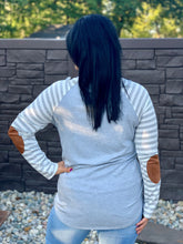 Load image into Gallery viewer, Gray//White Striped Raglan Top with Suede Elbow Patches