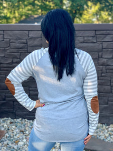 Gray//White Striped Raglan Top with Suede Elbow Patches