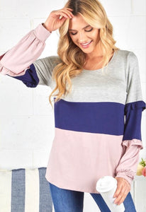 Give It A Whirl - ruffle sleeve top