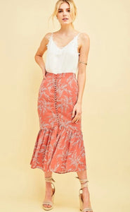 It Must Be Nice - salmon leaf print trumpet skirt