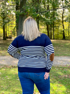 Navy and White Striped Sweater with Elbow Patch