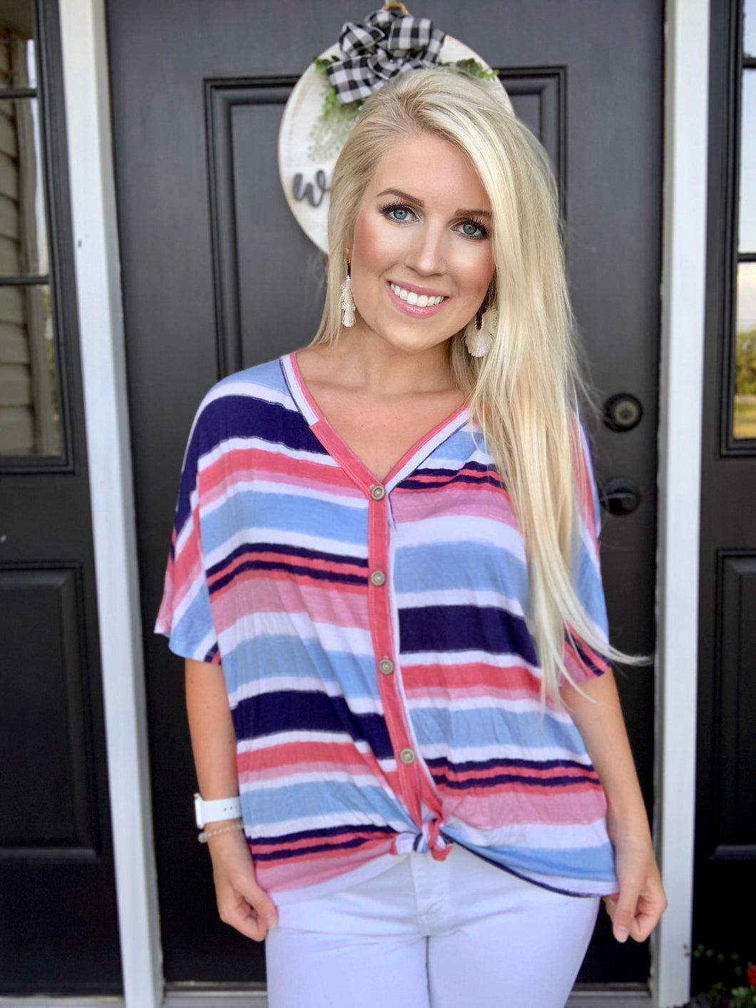 Pink + Navy Stripes