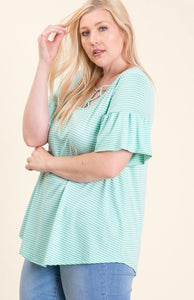 Young Dreamer - mint + white ruffle sleeve tee