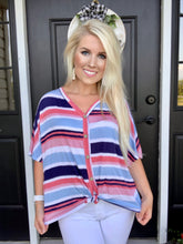 Load image into Gallery viewer, Pink + Navy Stripes