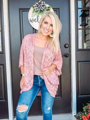Rose Open Cardigan Pink