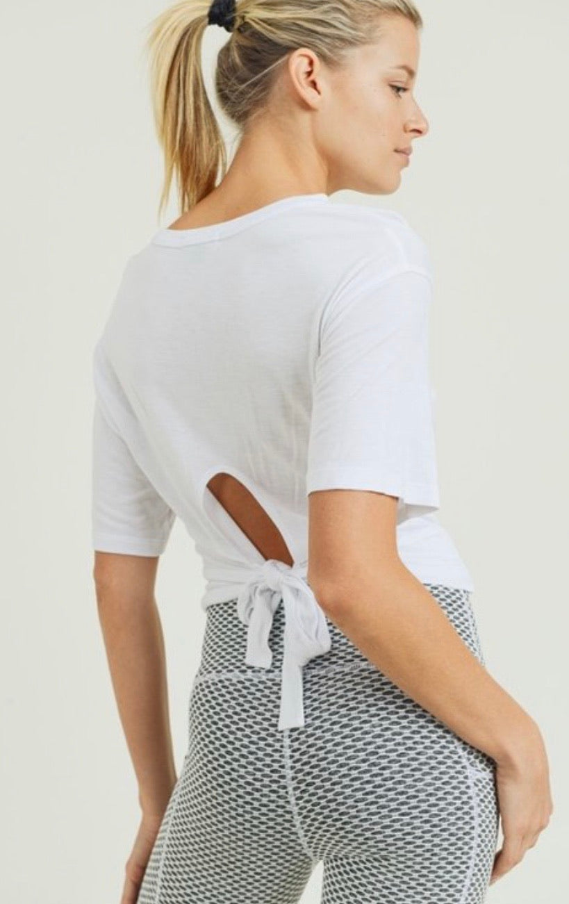 Just Chill - White; cross front, tie back top