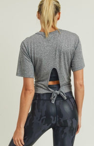 Just Chill - heather grey; cross front, tie back top