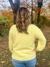 Load image into Gallery viewer, Lemon fuzzy knit sweater