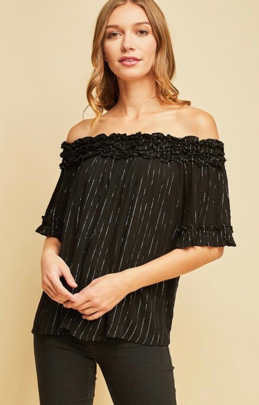 Starry Night - metallic threaded off the shoulder