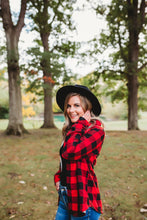 Load image into Gallery viewer, Red Plaid Fur Lined Button Down