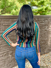 Load image into Gallery viewer, Teal Striped Crop Top