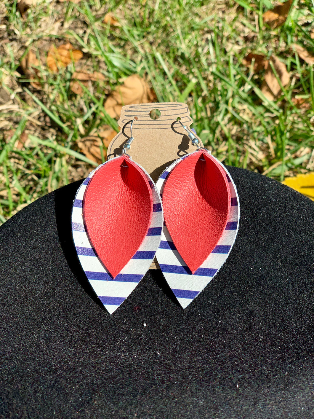 Red Leather with navy + white stripe