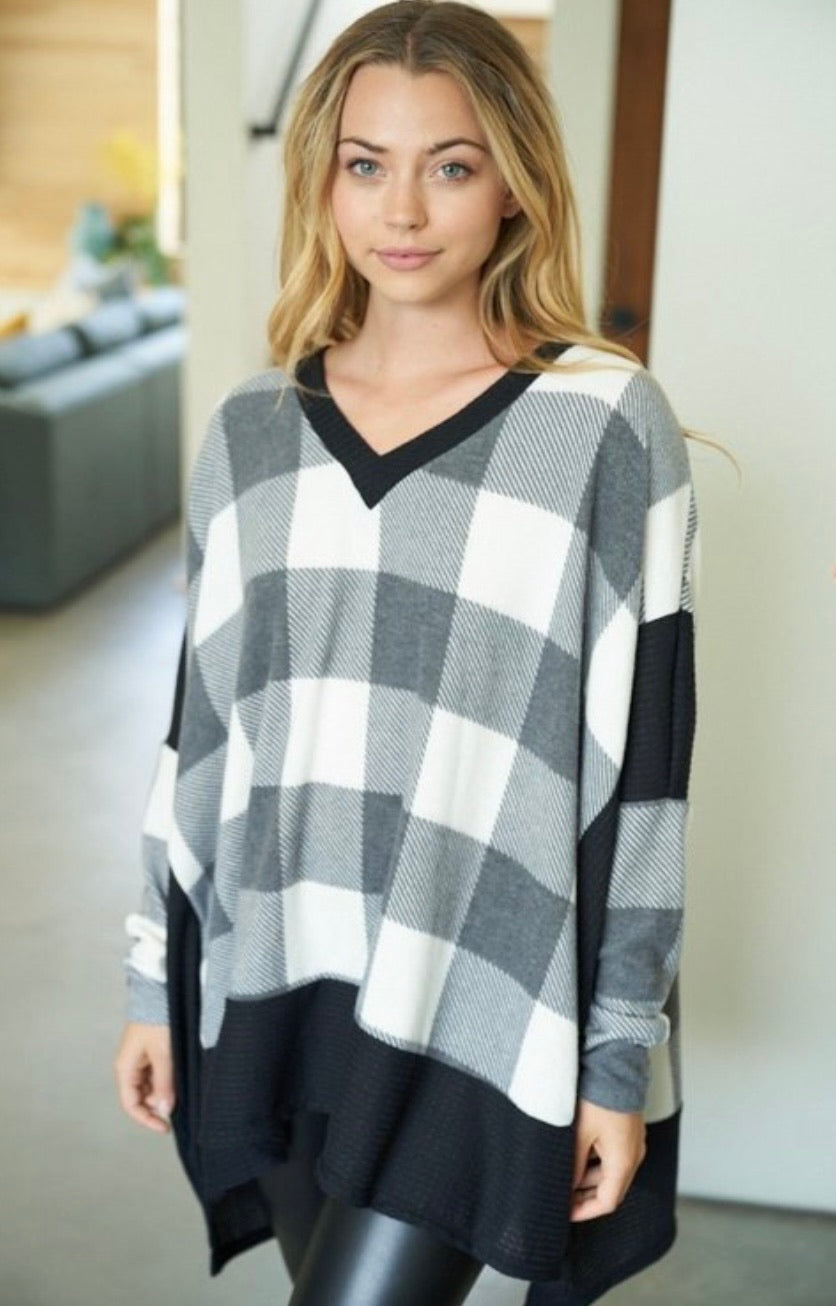 Checkered Knit Top