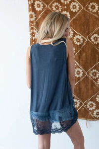 TBN Enchanted Lace Tank Blue