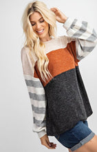 Load image into Gallery viewer, Rust + Stripe Long Sleeve Top