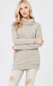Taupe solid knit sweater