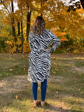 Load image into Gallery viewer, Zebra Print Fuzzy Knit Cardigan w/pockets