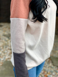 Fleece Scoop-neck Color Block Sleeve